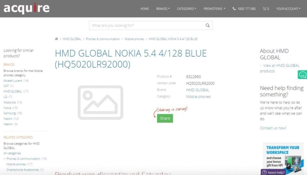 Prix et spécifications du Nokia 5.4 révélés par les première
