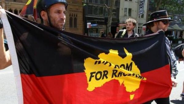 """No room for racism."" Protesters in Sydney demanded action on Indigenous deaths in custody on October 23. (Photo: Peter Boyle/ Green Left Weekly)"