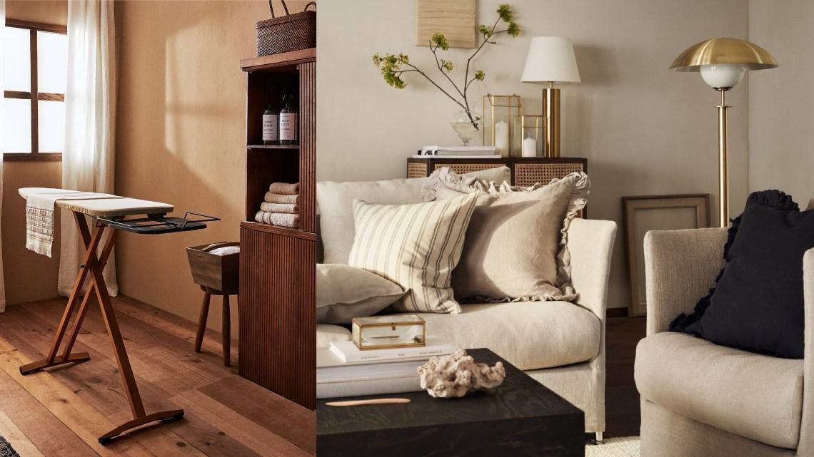 Woonfavorieten; fluwelen bed, houten strijkplank + Scandinavisch mediameubel