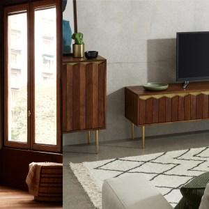 Woonfavorieten; houten spiegel, Skygarden hanglamp + set van 2 statement prints