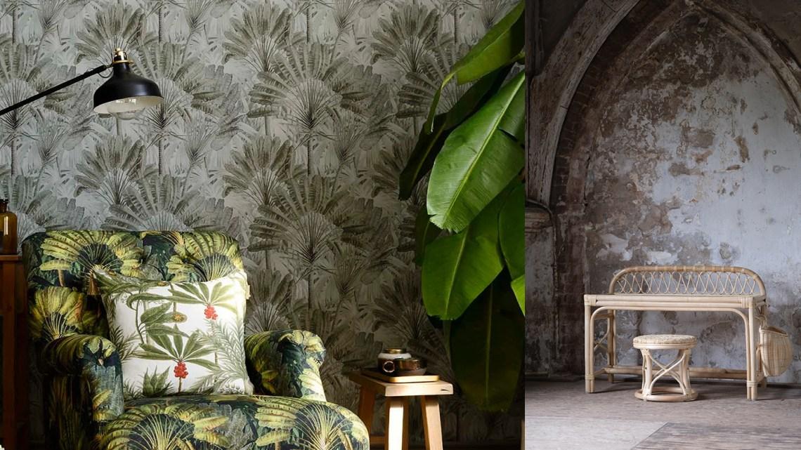 Woonfavorieten; palm behang, geribbelde longdrinkglazen + rotan bureautje