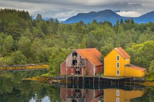 Two Old wooden warehouses in Norway
