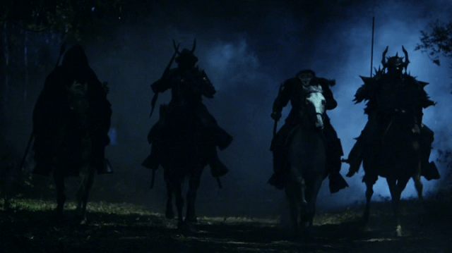 a screencap of the four horsemen of the apocalypse, conquest, war, famine and death