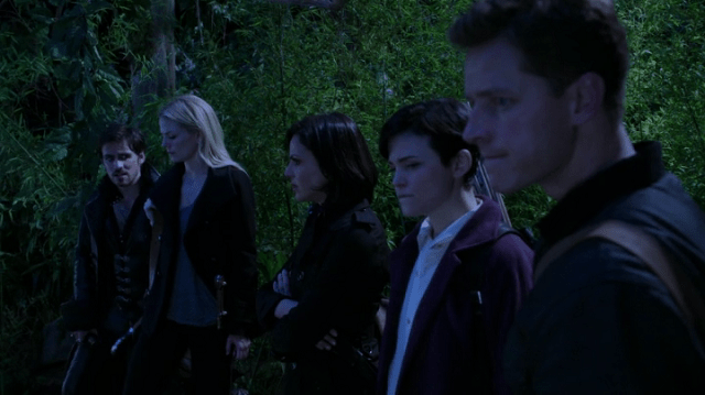 a screencap of captain hook (played by Colin O'Donoghue), emma (played by Jennifer Morrison), regina (played by Lana Parrilla), mary margaret (played by Ginnifer Goodwin) and David (played by Josh Dallas) standing around looking all determined and junk