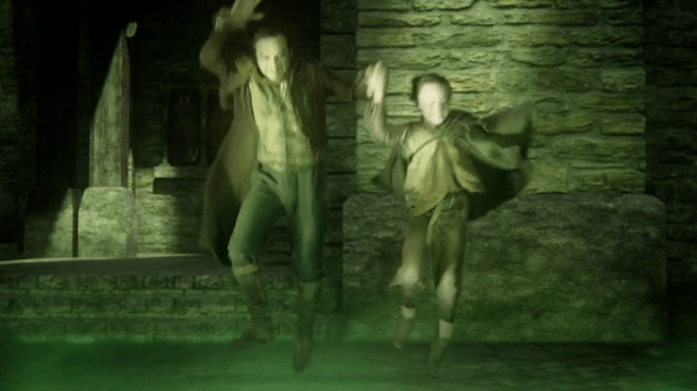 a screencap of rumpelstiltskin's father (played by stephen lord) and a young rumpelstiltskin (played by wyatt oleff) jumping into a portal