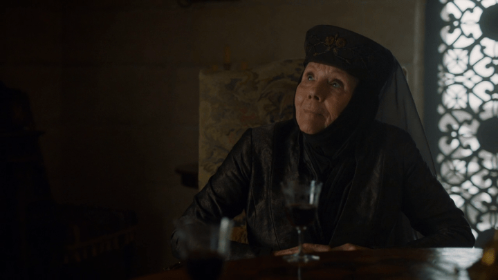 queen olenna tyrell (played by diana rigg) prepares to die