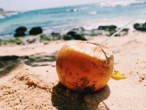 30 cent coconut on the Secret Beach sand