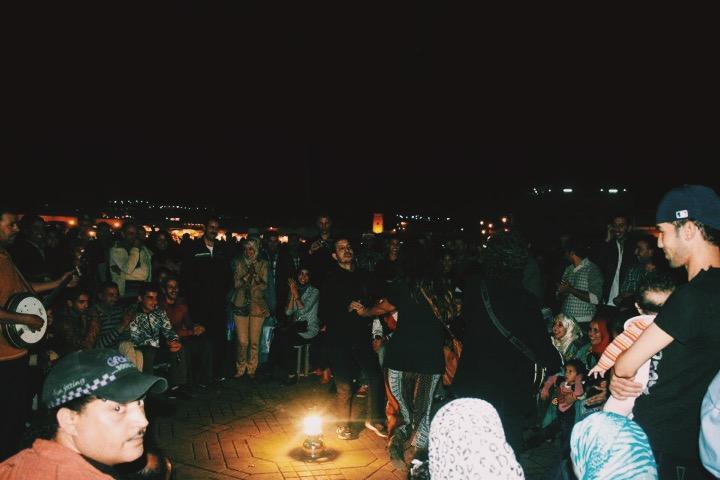 Lauren in a drum circle in the Jemaa el-Fna