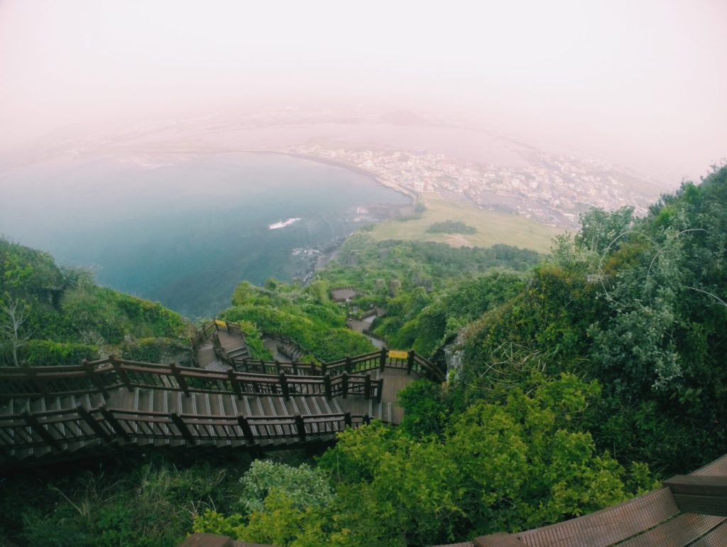 Coming down from Sunrise Peak, Jeju Island