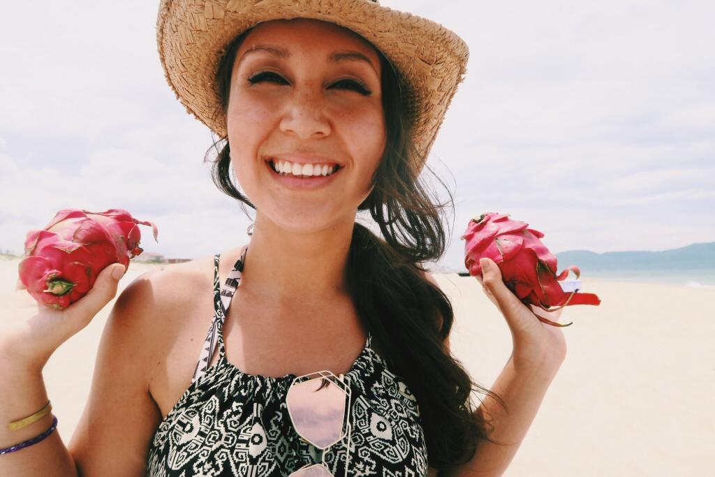 Lauren with dragon fruit in Da Nang, Vietnam
