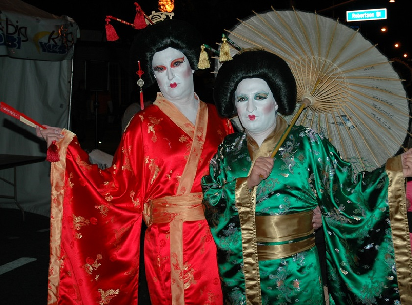 Geishas at the West Hollywood Halloween Carnaval in LA