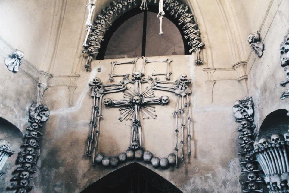 Skull Cross at the Bone Church near Prague