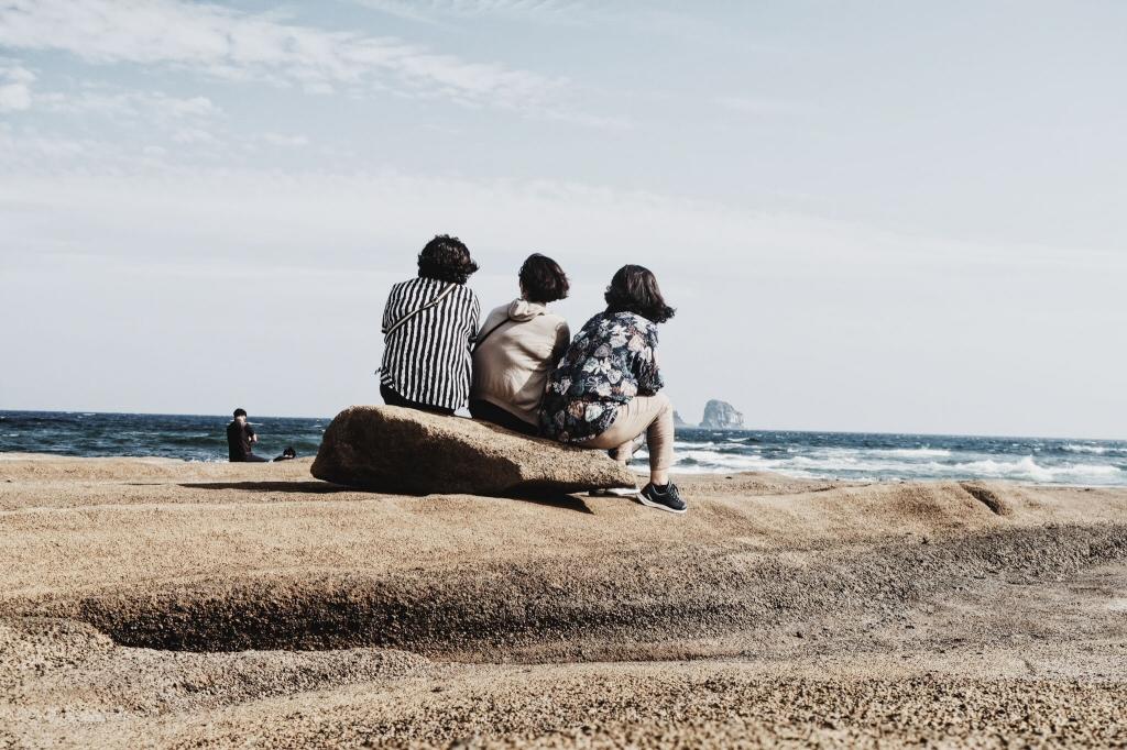 Ajummas at Sagye Beach on Jeju Island, South Korea