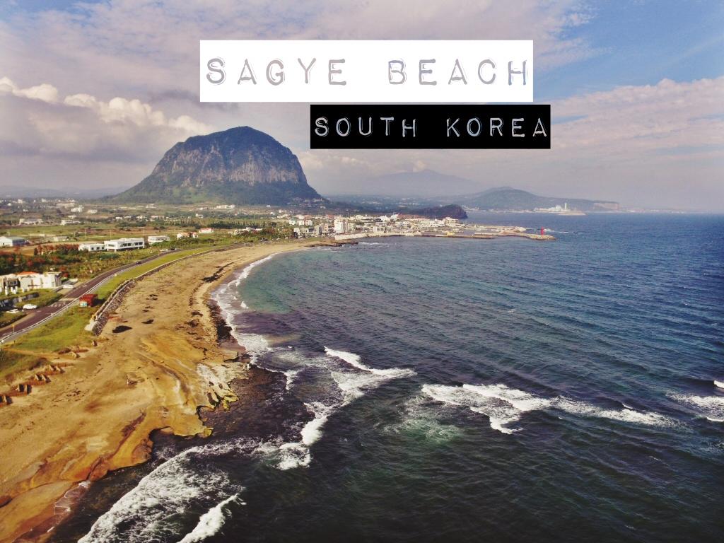 Mt. Sanbangsan View from Sagye Beach, Jeju Island, South Korea - title