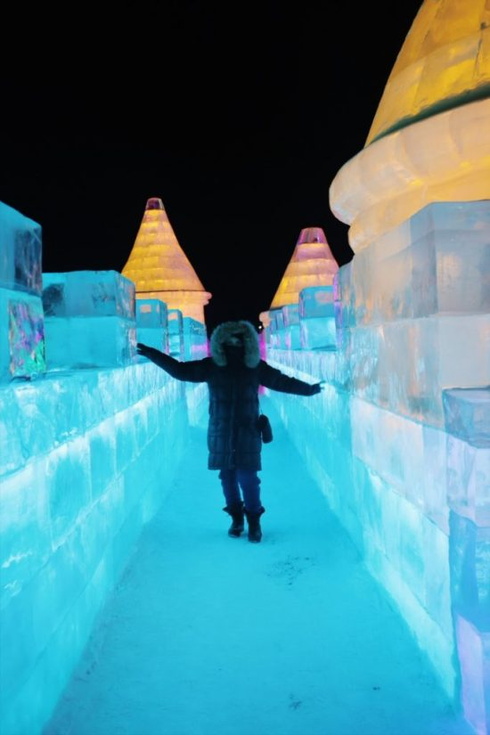 Female Travel to Harbin Ice Festival in China