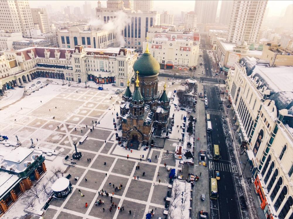 Saint Sophia Church in Harbin by drone