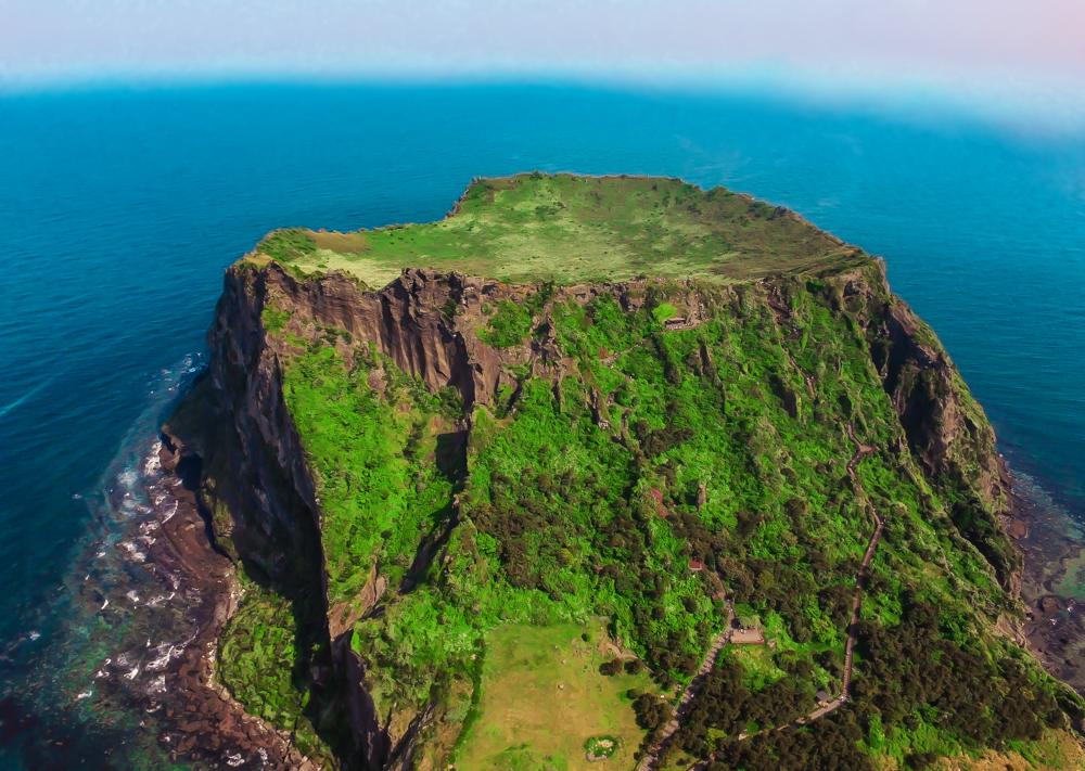Climbing Sunrise Peak, a UNESCO World Heritage site on Jeju Island, Korea