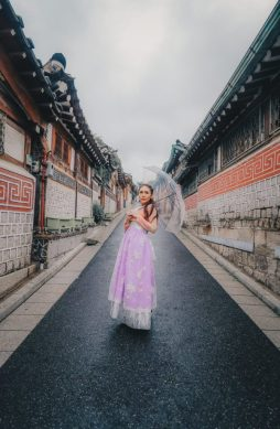 Rainy Seoul in Hanbok, South Korea