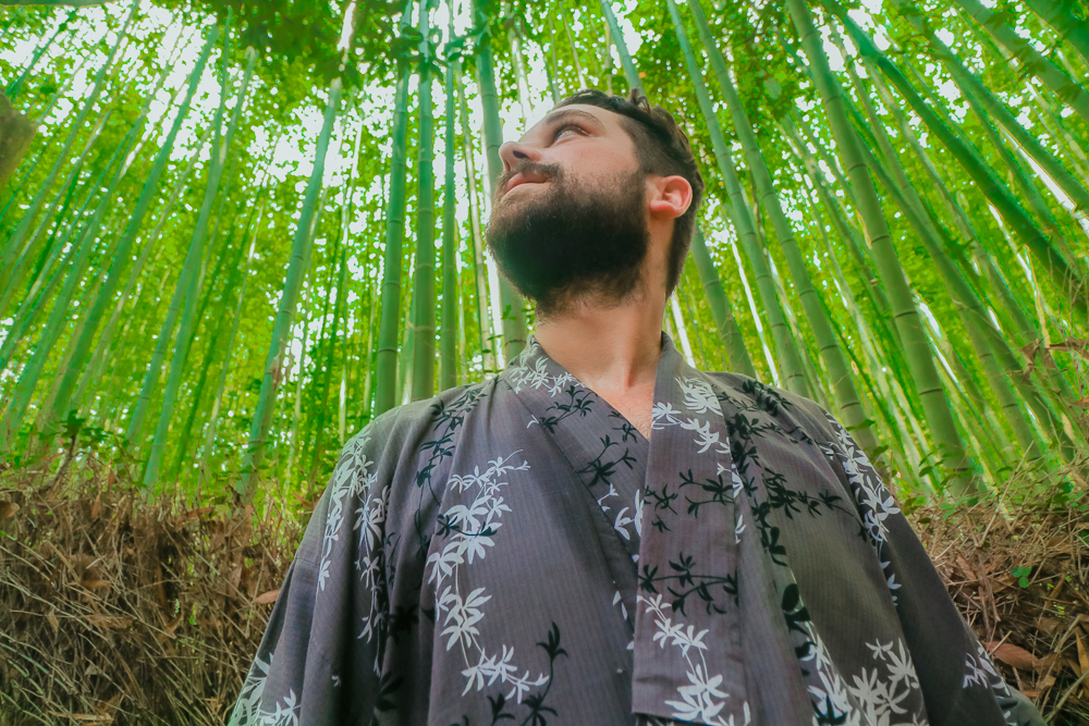 Arayashima Bamboo Forest in Yukata in Kyoto, Japan