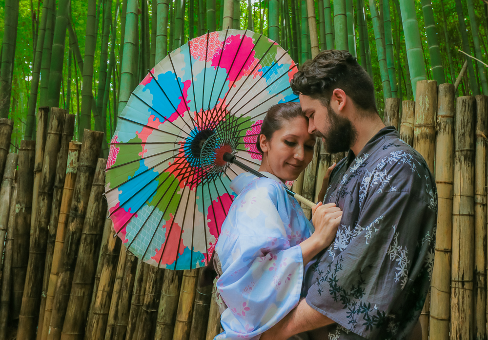 Couples travel renting kimono
