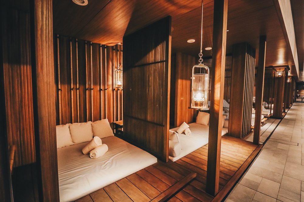 Indoor Pool Cabanas at the Four Seasons Kyoto Hotel, the best luxury hotel in Japan travel