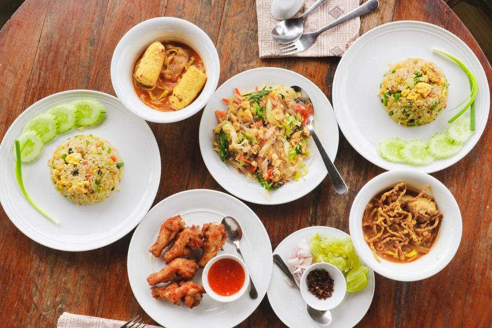 Eating thai food at Lisu Lodge Chiang Mai Thailand