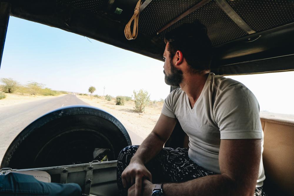 Riding in Jeep in Thar Desert