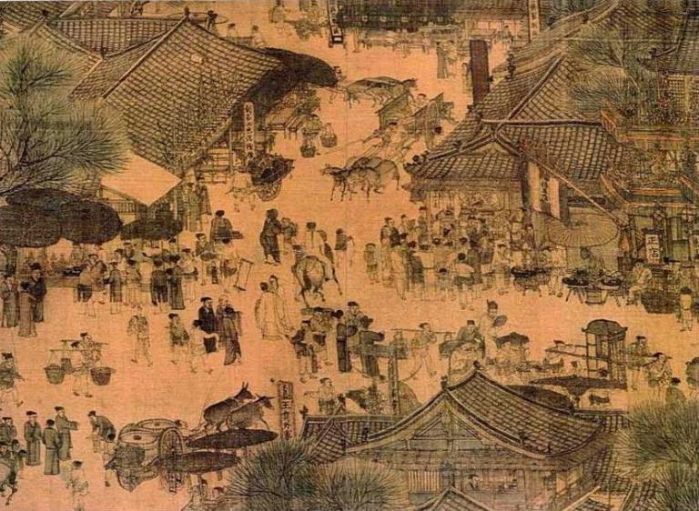 Straßenszene während des Quingming-Fests (Detail der Quingming-Rolle, 12. Jh.)