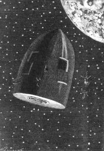 """Illustration, Roman """"Reise um den Mond"""" Jules Verne"""