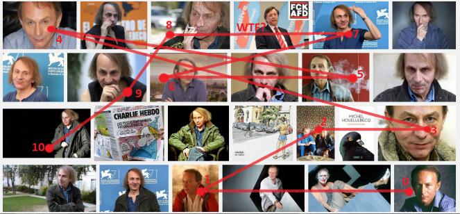Google-Foto-Wall von Michel Houellebecq