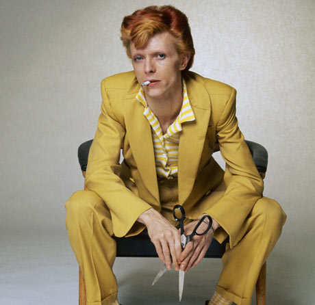 David Bowie in a mustard suit