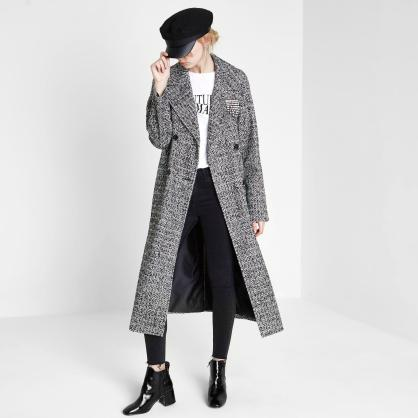 river-island-black-Black-Brooch-Double-Breasted-Long-Coat