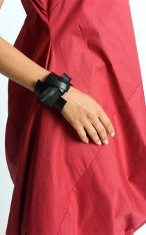 Black Genuine Leather Bracelet_Extravagant Black Bracelet_Unisex Asymmetric Leather Accessory_Snap Closure Bracelet_Black Wristband