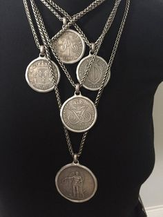 Old Silver Coin Necklace, European Coin Jewelry, Wheat Chain, Antique Silver, Handmade, Replica, Anniversary, Gift for Him or Her