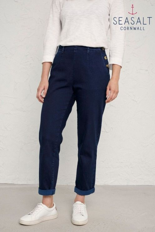 Womens Seasalt Dark Indigo Wash Waterdance Trousers - Blue