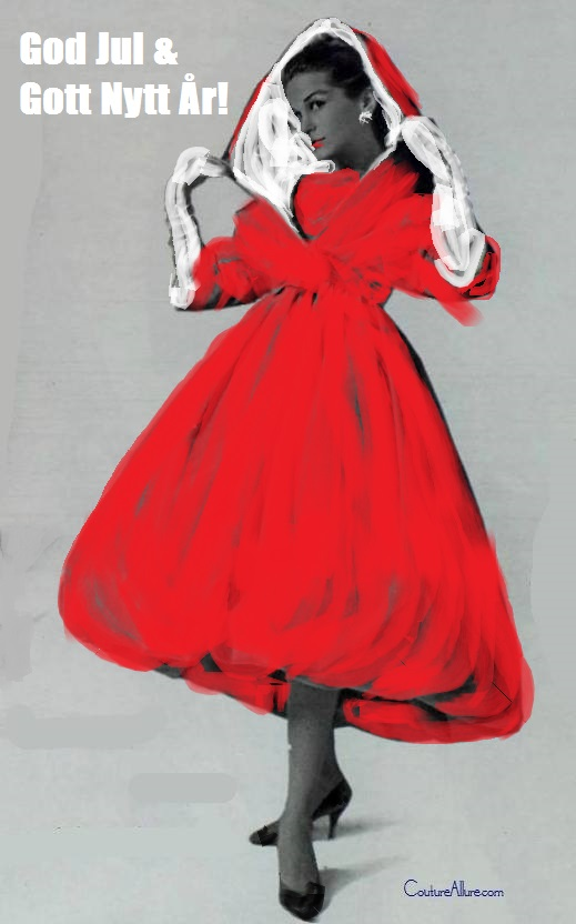 God Jul!Givenchy 1958 m färg helfigur
