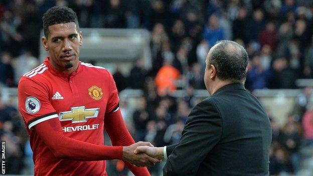 United defender Chris Smalling cuts a frustrated figure at the end