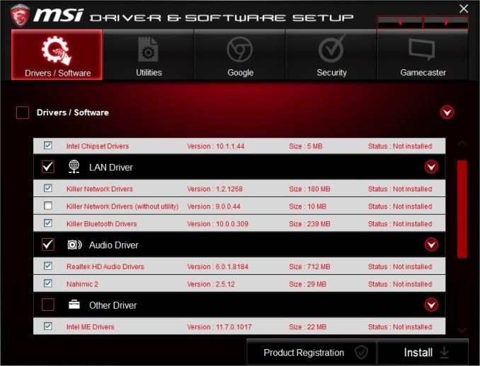 msi driver and software setup