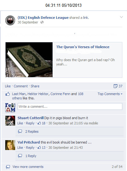 EDL suggesting dipping Quran in pigs blood
