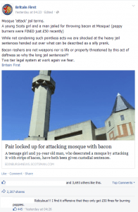 Britain First Edinburgh Mosque Bacon Incident