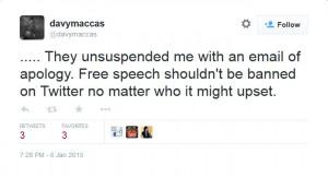 Twitter unsuspension @davymaccas