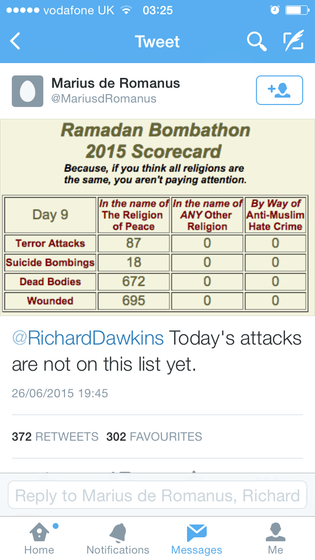 'Bombathon' anti-Muslim graphic