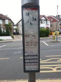 Anti-Muslim graphics bus stop
