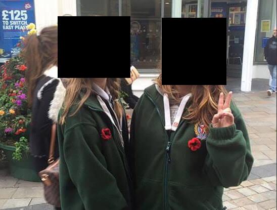 Girls Wearing Britain First sweatshirts