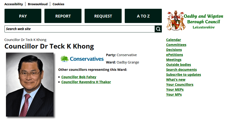 Meet Cllr Dr Teck Khong, Conservative Councillor and General Practitioner