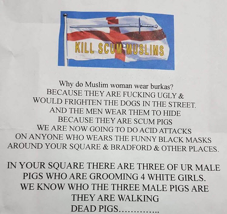 Threatening Anti-Muslim Leaflet Sent to Family in Bradford