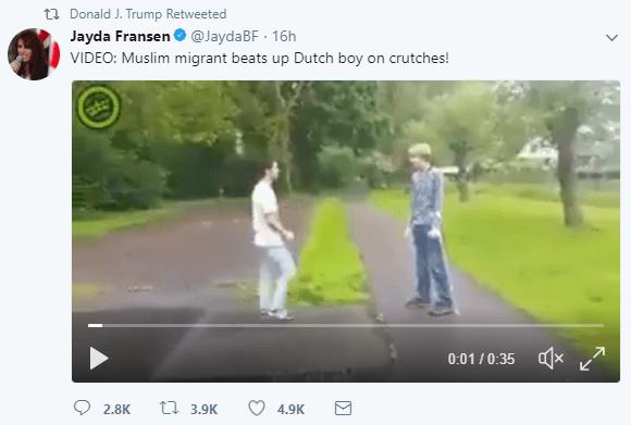 Donald Trump retweeted Britain First deputy leader Jayda Fransen