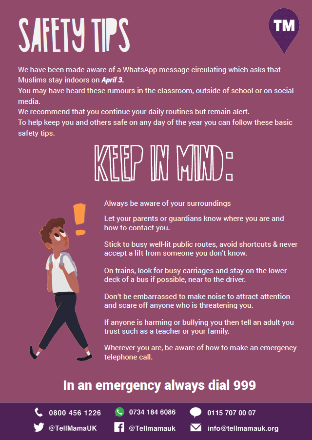 Safety Tips for Young People, April 3rd