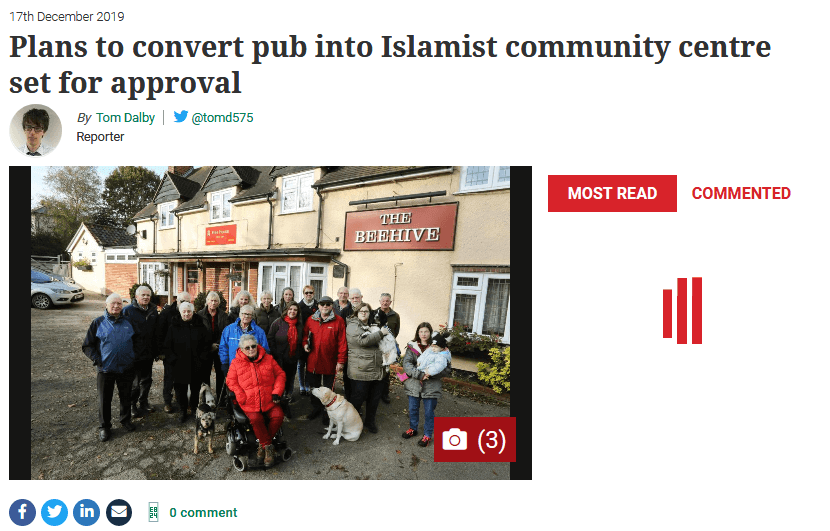"Local newspaper apologises for 'grave error' over inflammatory ""Islamist community centre"" headline"