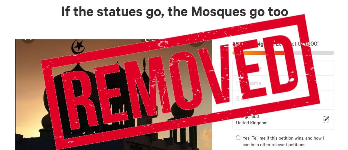 Change.org removes petition calling for the destruction of mosques after removal of slave trader statues